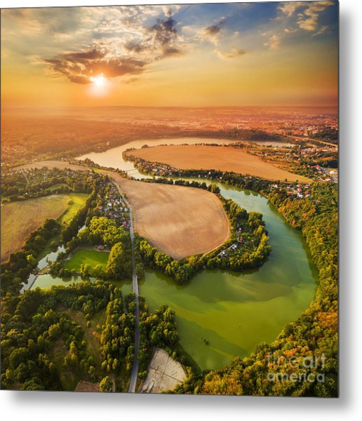 Beautiful Sunset Over Czech Valley Metal Print by Kletr