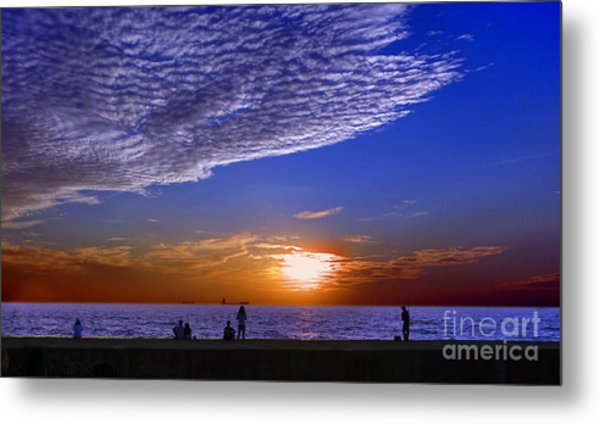 Beautiful Sunset With Ships And People Metal Print