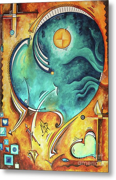 Beautiful Whimsical Heart Love Symbolic Painting Live Your Truth By Madart Megan Duncanson Metal Print