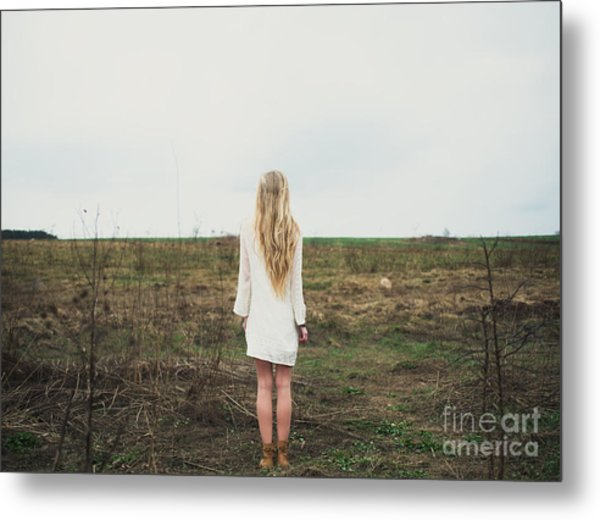 Beautiful Young Girl In The Spring Metal Print