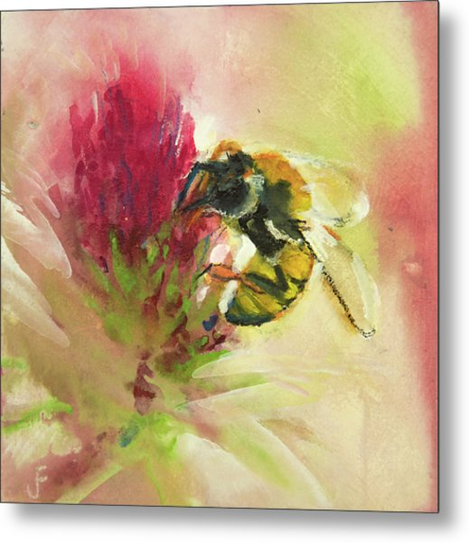 Bee On Clover Metal Print