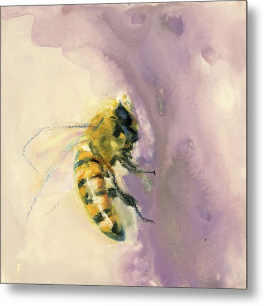 Bee On Lavender Metal Print