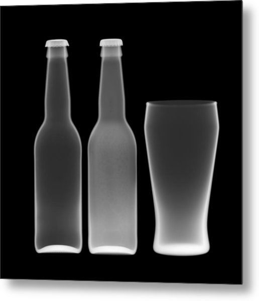 Beer Bottles And Drinking Glass Metal Print by Nick Veasey