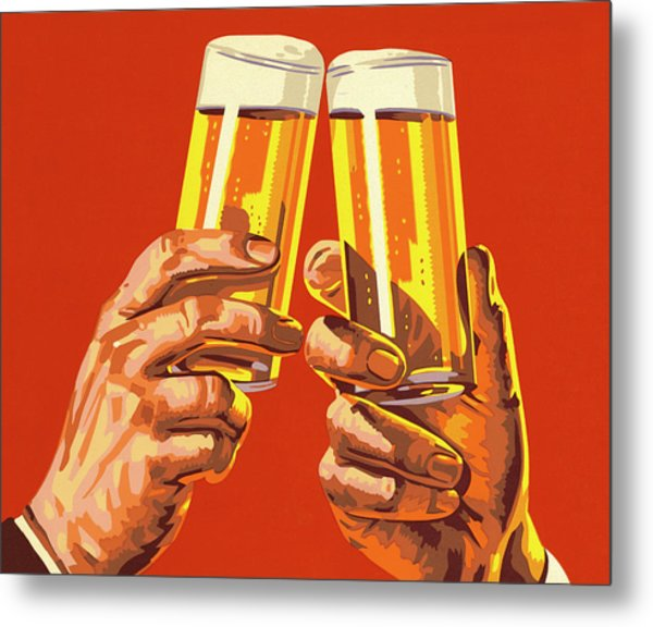 Beer Toast Metal Print
