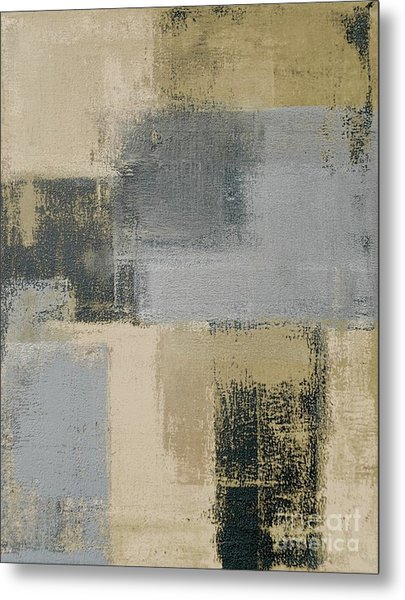 Beige And Grey Abstract Art Painting Metal Print