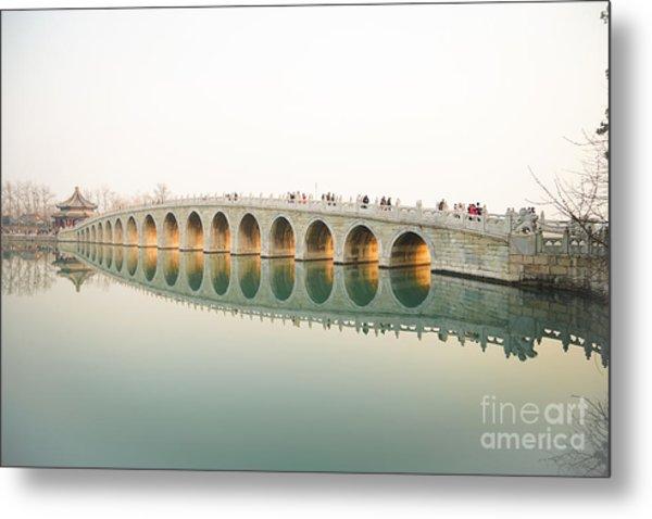 Beijing The 17-arch Bridge In Summer Metal Print