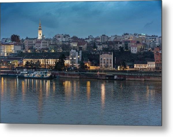 Belgrade Skyline And Sava River Metal Print