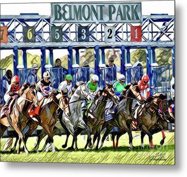 Belmont Park Starting Gate 1 Metal Print