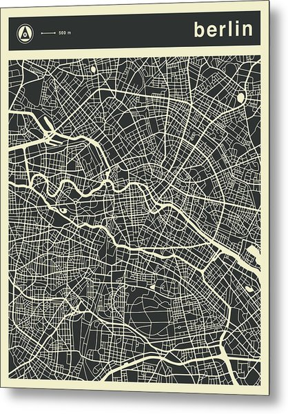 Berlin Map 3 Metal Print