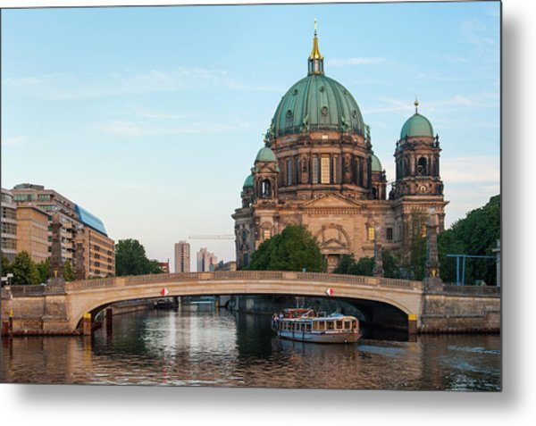 Berliner Dom And River Spree In Berlin Metal Print