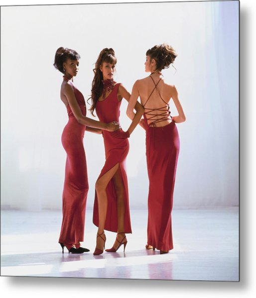 Beverly Peele, Susan Holmes, And Claudia Mason In Red Dresses Metal Print by Arthur Elgort