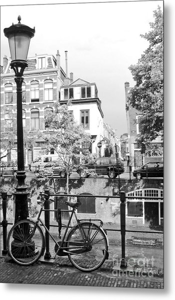 Bicycle And Lamp The Netherlands Metal Print