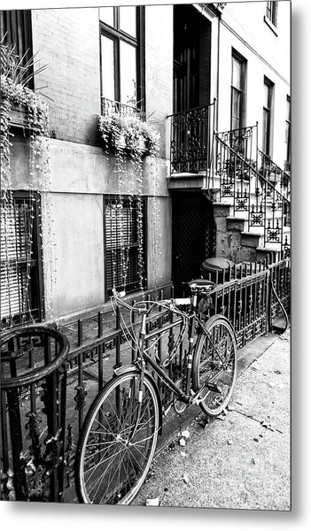 Bicycle In Greenwich Village New York City Metal Print