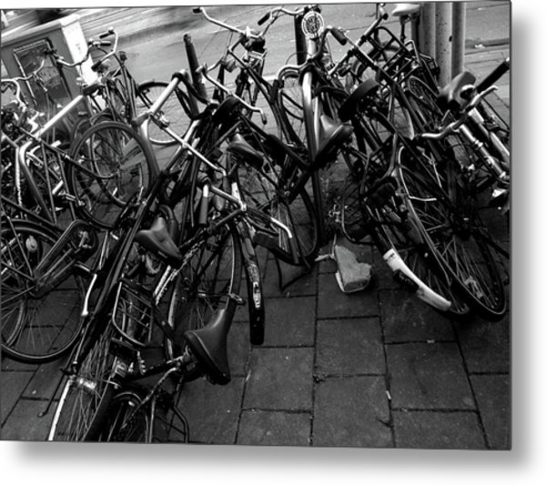 Metal Print featuring the photograph Bicycles  by Edward Lee