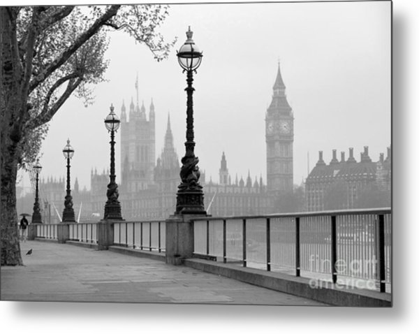 Big Ben & Houses Of Parliament, Black Metal Print