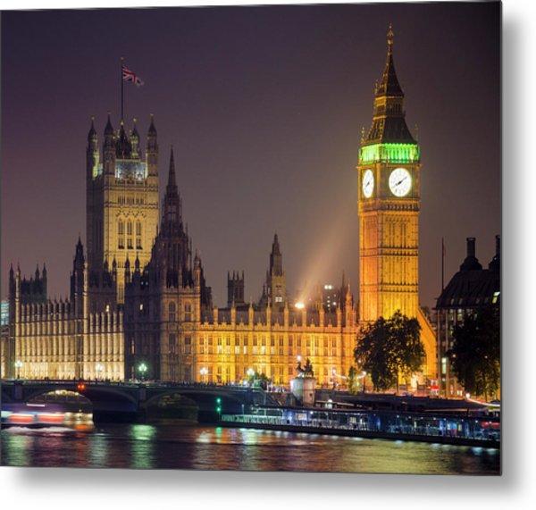 Big Ben At Night, London Metal Print by Cescassawin