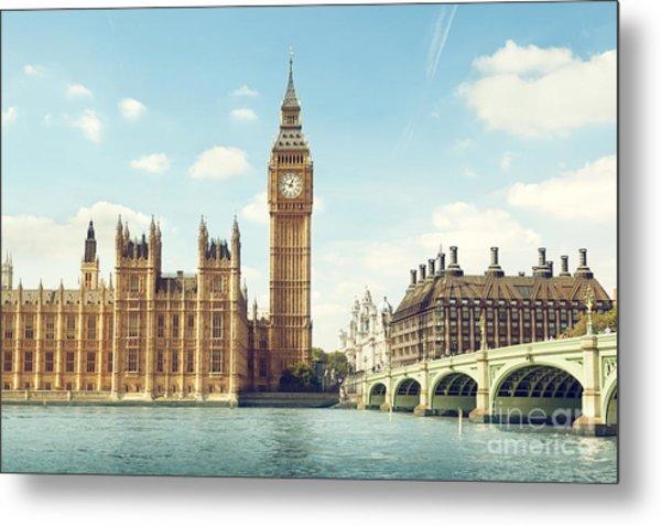 Big Ben In Sunny Day, London Metal Print
