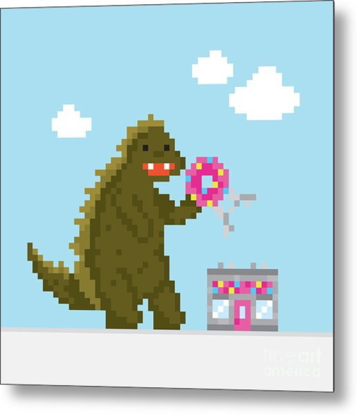 Big Dinosaur Attacking Donut Cafe Metal Print