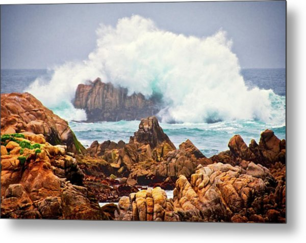 Big Splash, Asilomar State Beach, Pacific Grove, California Metal Print