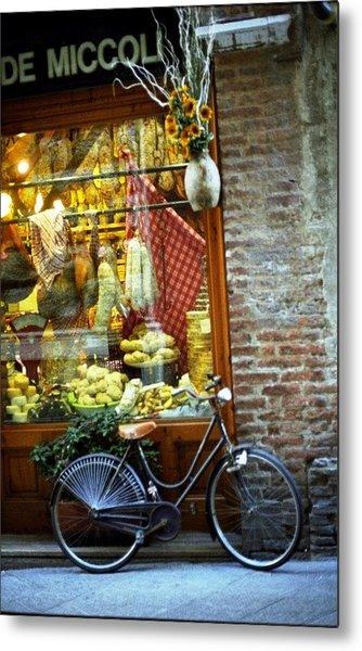 Bike In Sienna Metal Print