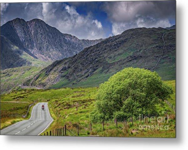 Biker In Snowdonia Wales Metal Print