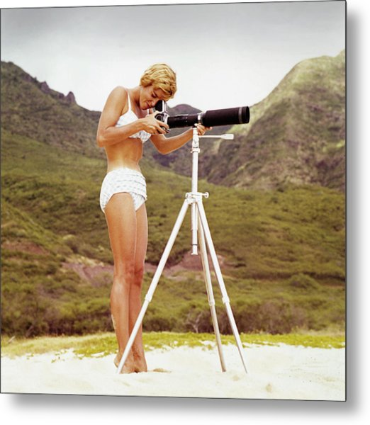 Bikini Girl And Camera Metal Print by Tom Kelley Archive