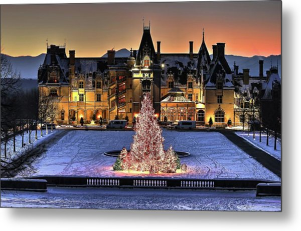 Biltmore Christmas Night All Covered In Snow Metal Print