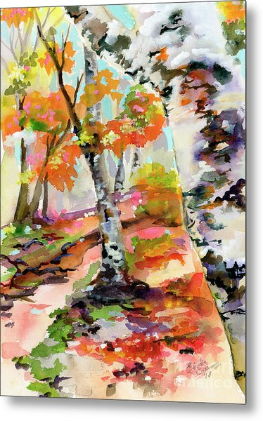 Metal Print featuring the painting Birch Trees Around The Bend by Ginette Callaway