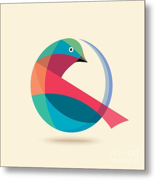 Bird Abstract Logo Design Vector Design Metal Print