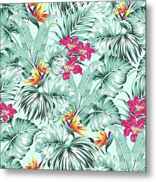 Bird Of Paradise Greenery Aloha Hawaiian Prints Tropical Leaves  Metal Print