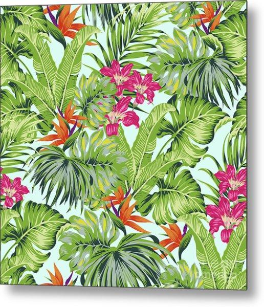 Bird Of Paradise Greenery Aloha Hawaiiana Rainforest Tropical Metal Print