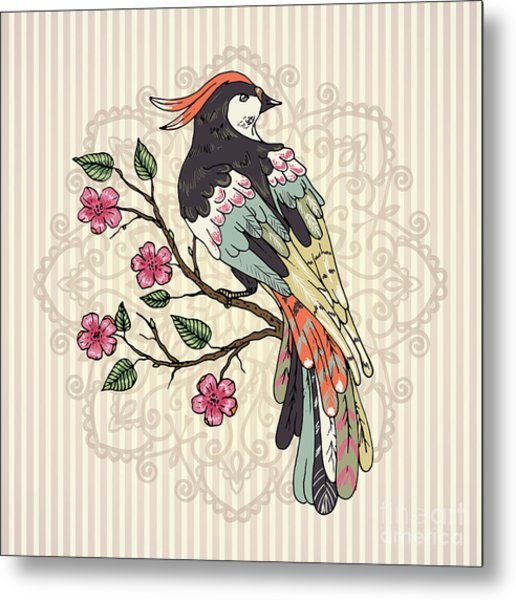 Bird On A Branch Vector Illustration Metal Print