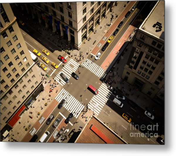 Birds Eye View Of Manhattan, Looking Metal Print by Heather Shimmin