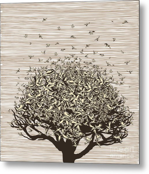 Birds Like Leaves On A Tree Metal Print by Ryger