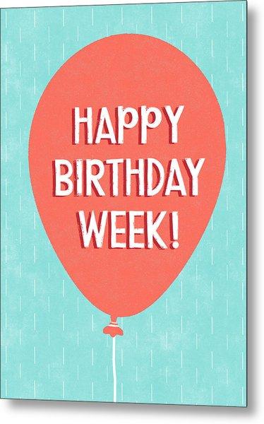 Birthday Week Red Balloon- Art By Linda Woods Metal Print
