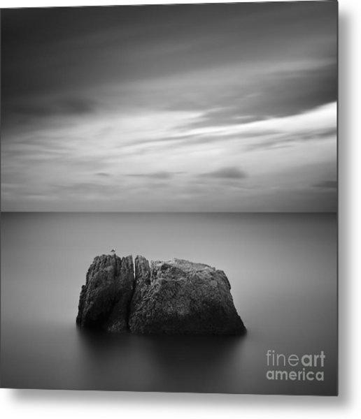 Black & White Rocky Seascape Scene With Metal Print by Yury Bird