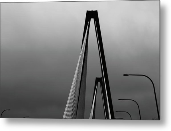 Black And White Bridge Abstract Metal Print