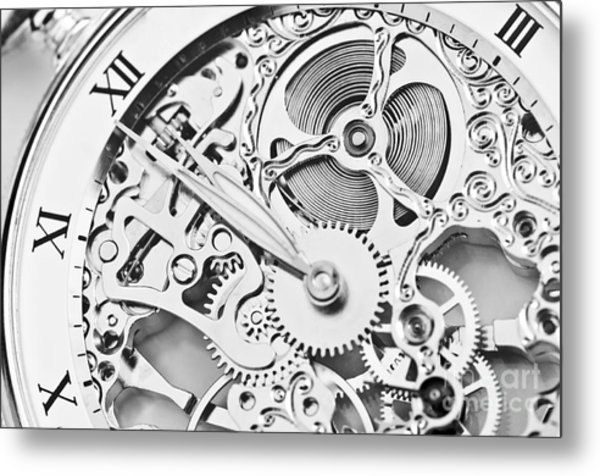 Black And White Close View Of Watch Metal Print