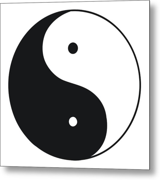 Black And White Illustration Of Tai Chi Metal Print by Dorling Kindersley