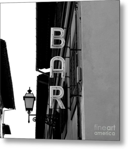 Black And White Neon Lights Spelling Metal Print