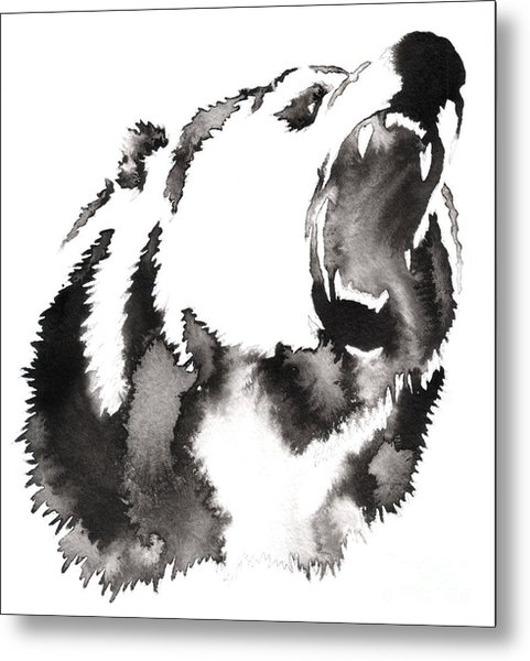 Black And White Painting With Water And Metal Print