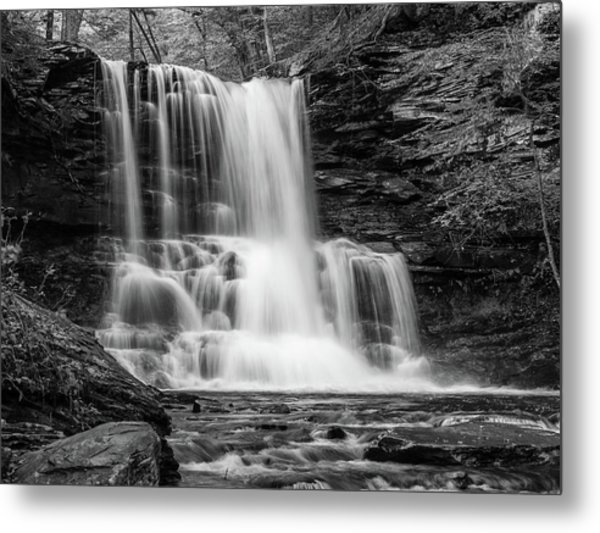 Black And White Photo Of Sheldon Reynolds Waterfalls Metal Print