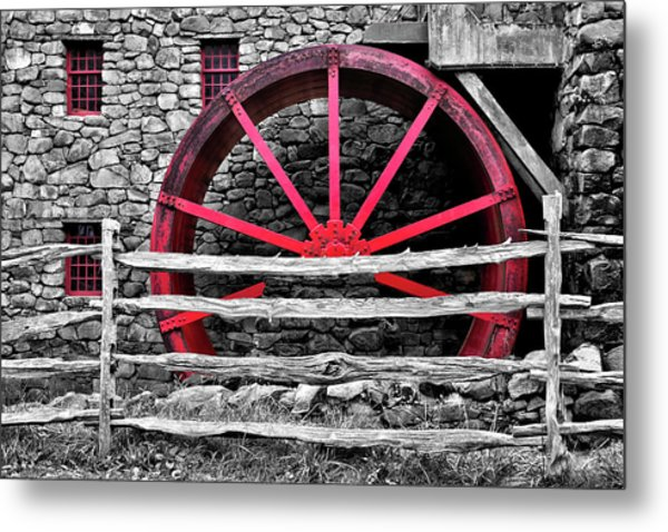 Black And White With Red - Grist Mill Metal Print