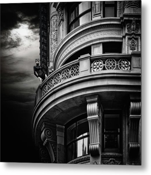 Metal Print featuring the photograph Black Cat On A Fifth Avenue Balcony by Chris Lord