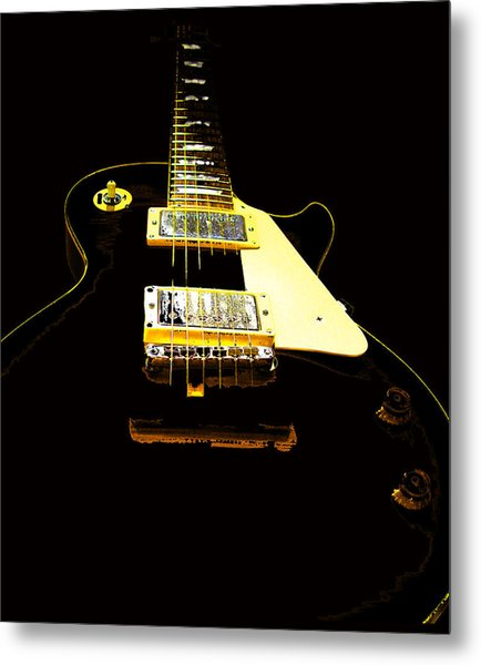 Black Guitar With Gold Accents Metal Print