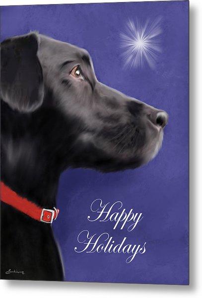 Black Labrador Retriever - Happy Holidays Metal Print