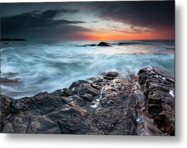 Black Sea Rocks Metal Print