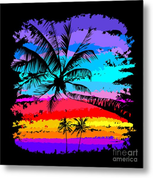 Black Silhouettes Of Palm Trees On A Metal Print