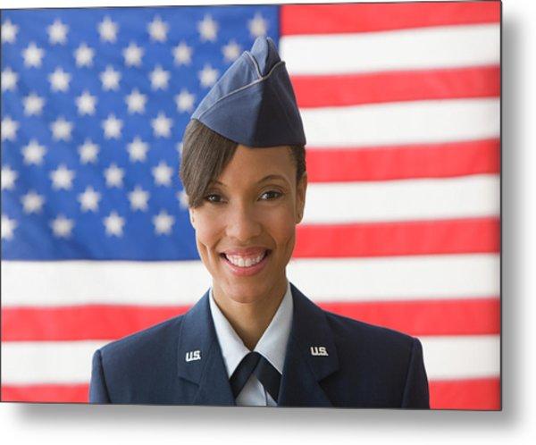 Black Soldier Smiling By United States Metal Print by Jose Luis Pelaez Inc