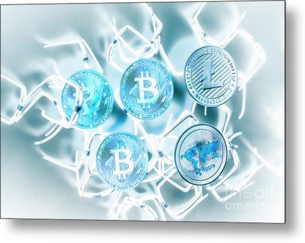Blockchain Network Metal Print